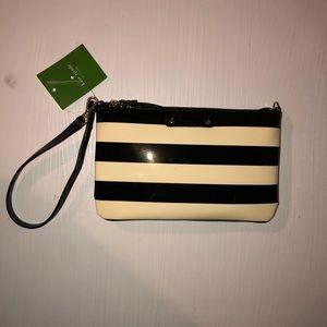 Kate Spade Black and White Striped Wristlet